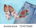 embroidery floral rose female...   Shutterstock . vector #724373680
