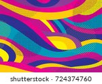 Creative geometric colorful background with patterns. Collage. Design for prints, posters, cards, etc. Vector. | Shutterstock vector #724374760
