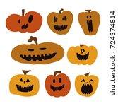 pumpkins  vector illustration  | Shutterstock .eps vector #724374814