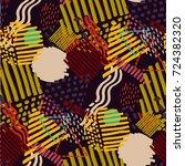 memphis seamless  pattern in...   Shutterstock .eps vector #724382320