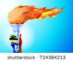 torch  flame. a hand from the... | Shutterstock .eps vector #724384213