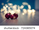 christmas banner with ... | Shutterstock . vector #724385074