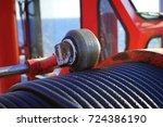 crane  pedestal crane winch ... | Shutterstock . vector #724386190