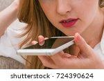 girl using smart phone voice... | Shutterstock . vector #724390624