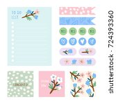 super cute stationery and... | Shutterstock .eps vector #724393360