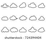 black cloud outline icons set | Shutterstock .eps vector #724394404