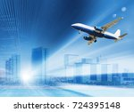 plane flying rapidly over the... | Shutterstock . vector #724395148