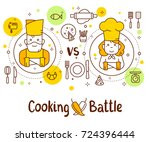 vector illustration of two... | Shutterstock .eps vector #724396444