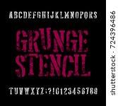 grunge stencil typeface. retro... | Shutterstock .eps vector #724396486