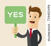 businessman or man holds a sign ...   Shutterstock .eps vector #724401496
