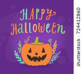 happy halloween greeting card.... | Shutterstock .eps vector #724412860