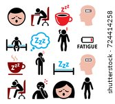 fatigue vector icons set  tired ... | Shutterstock .eps vector #724414258