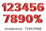 red discount numbers. percent.... | Shutterstock . vector #724419088