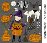 big halloween colorful set with ... | Shutterstock .eps vector #724423000