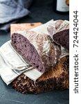artisan sourdough bread with...   Shutterstock . vector #724424044
