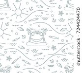 cute seamless pattern with fish ... | Shutterstock .eps vector #724424470