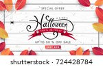 happy halloween calligraphy.... | Shutterstock .eps vector #724428784