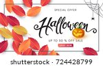 happy halloween calligraphy.... | Shutterstock .eps vector #724428799
