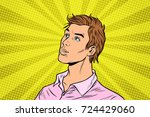 young handsome man in pink... | Shutterstock .eps vector #724429060