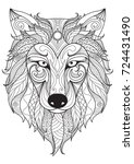 line art design of wolf head... | Shutterstock .eps vector #724431490