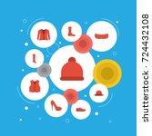 flat icons pompom  coat ...   Shutterstock .eps vector #724432108