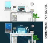 day and night  in office vector | Shutterstock .eps vector #724437946