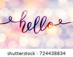 hello vector lettering  card...   Shutterstock .eps vector #724438834