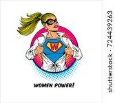 women power. pop art sexy... | Shutterstock .eps vector #724439263