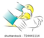a girl has a pain and hands... | Shutterstock .eps vector #724441114