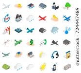 suitcase icons set. isometric... | Shutterstock .eps vector #724447489