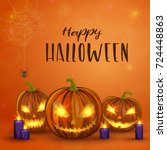 carved halloween pumpkins ... | Shutterstock .eps vector #724448863