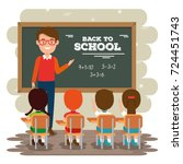 back to school teacher teaching ... | Shutterstock .eps vector #724451743