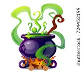 steel cauldron with boiling... | Shutterstock .eps vector #724452199