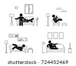 stick figure resting at home... | Shutterstock .eps vector #724452469
