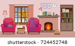 cozy living room interior with... | Shutterstock .eps vector #724452748