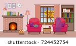 cozy living room interior with... | Shutterstock .eps vector #724452754