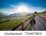 touring bike on via claudia... | Shutterstock . vector #724457893