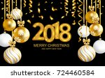 2018 marry christmas and happy... | Shutterstock .eps vector #724460584