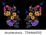 flower embroidery  flower patch ... | Shutterstock .eps vector #724466920