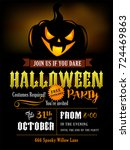 halloween party invitation with ... | Shutterstock .eps vector #724469863