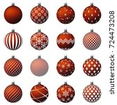 set of christmas balls for your ... | Shutterstock .eps vector #724473208