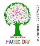 international music day. music... | Shutterstock . vector #724474174
