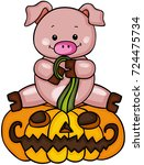 cute pig with halloween pumpkin  | Shutterstock .eps vector #724475734