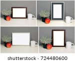 set of frame mockup with plant... | Shutterstock . vector #724480600