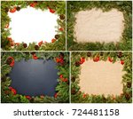 set of christmas framework with ... | Shutterstock . vector #724481158