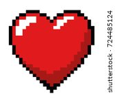 pixelated heart game icon   Shutterstock .eps vector #724485124