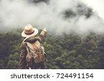 happy woman tourist to travel