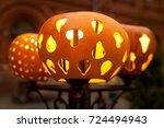 romantic orange pumpkin street... | Shutterstock . vector #724494943
