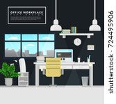 office space flat design | Shutterstock .eps vector #724495906