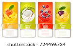 set of labels of of fruit in... | Shutterstock .eps vector #724496734